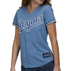 Majestic Kansas City Royals Ladies Light Blue Replica Jersey DOES NOT HAVE TO BE MLB ISSUE CAN BE A KNOCK OFF.
