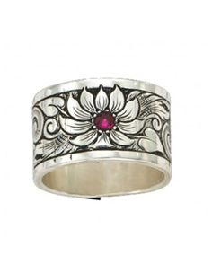 Montana Silversmiths Pure Montana Bitterroot Flower Sterling Silver Band Ring