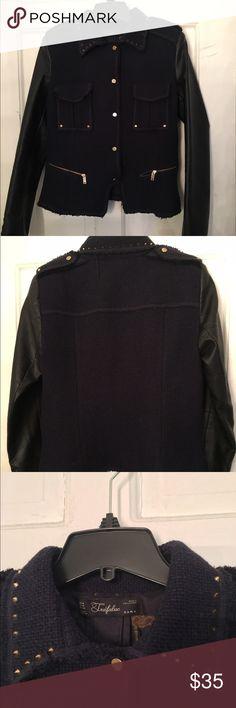 ❗️SOLD❗️Zara tweed blazer Classy and edgy Zara blue tweed blazer with black leather sleeves. Worn twice, like new. Zara Jackets & Coats Blazers