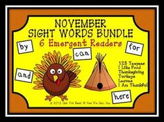 This is not your typical worksheet pack.  Use these materials to bundle more than 30 CCSS with each book! Your students will burst with pride when they use these Thanksgiving themed emergent readers to learn to read and write these 5 beginning sight words: can, by, for, here, and.