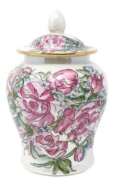Vintage Japanese Pink Roses Temple Jar on Chairish.com