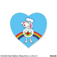 Colorida Oveja Tejedora. Sheep. Arcoiris, rainbow. Producto disponible en tienda Zazzle. Product available in Zazzle store. Regalos, Gifts. Link to product: http://www.zazzle.com/colorida_oveja_tejedora_sheep_arcoiris_rainbow_heart_sticker-217767165736450318?CMPN=shareicon&lang=en&social=true&rf=238167879144476949 #sticker #oveja #sheep