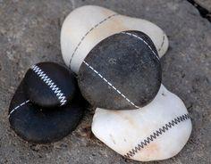 Bella Dia: Stitched rocks using rub-on transfers. Cute paperweights!