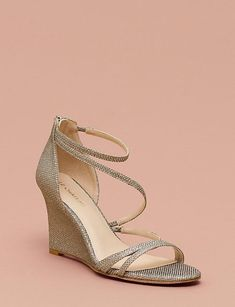 Bridal shoes aren't all white or ivory, Thus if you intend to put on a colourful wedding dress, you could try out a more unusual kind of wedding shoes. If you put money into designer bridal shoes they're very likely… Continue Reading → Ankle Strap Wedges, Strappy Wedges, Wedge Sandals, Wedge Shoes, Bridesmaid Wedges, Silver Bridesmaid Shoes, Bridesmaids, Wedge Wedding Shoes, Bridal Shoes