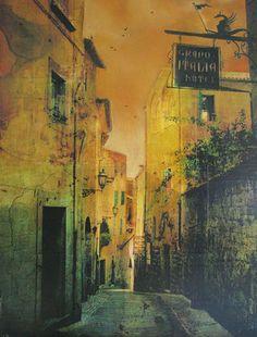 Orvieto by Liz Brizzi, via Flickr Landscape Artwork, Urban Landscape, Decay Art, Watercolor Paintings, Watercolors, Environmental Art, Artist At Work, Digital Photography, Urban Decay