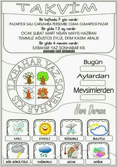 Class Bulletin Boards, Turkish Lessons, Learn Turkish Language, Primary School, Four Seasons, Classroom Management, Worksheets, Coloring Pages, Homeschool