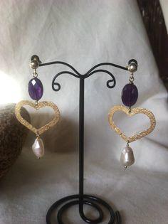 Orecchini in argento 925% ametista e perle di Emozioniacolori