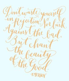 Don't waste yourself in rejection, nor bark against the bad, but chant the beauty of the good. - Ralph Waldo #Emerson