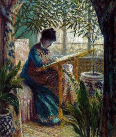 Claude Monet - Madame Monet Embroidering, 1875 at the Barnes Foundation Philadelphia PA by mbell1975, via Flickr