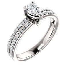 14k White Gold 0.50 Ct Pear #Diamond #Engagement #Ring
