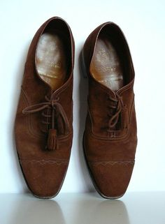 RESERVED Classic Crockett and Jones Brown Suede Leather Shoes Tassel Details- Mens Beaufort Made in England Size 9 10 43 44 Chocolate