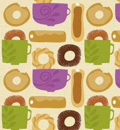 Artificial Grass For Dogs Fake Grass For Dogs, Artificial Grass For Dogs, Food Patterns, Textile Patterns, Print Patterns, Coffee And Donuts, Pattern Illustration, Food Illustrations, Surface Pattern