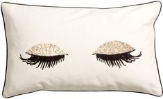 H&M - Cotton Cushion Cover - White, Cushion cover in textured, woven cotton fabric with printed design, sequined embroidery, and contrasting trim. Concealed zip. Size 12 x 20 in