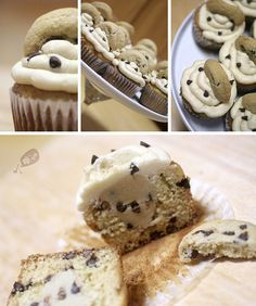 Why choose between making cookies or making cupcakes? Just make Chocolate Chip Cookie Dough Cupcakes