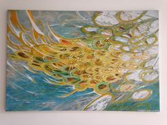 Painting, acrylic on canvas.  80 cm X 120 cm. #painting #art #artwork #fish #blue #water