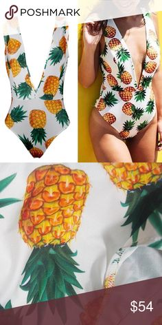 Sexy & Flirty Pineapple Princess Swimsuit Just arrived will be ordering more sizes only a few in stock for now. This swimsuit is just so unique and has a sexy design throughout! Back has a high cheeky cut and front has a deep v plunge! Kept one for my own wardrobe. One of my favorites. Pineapple print design. I also have about ten other swimsuits in my boutique collection and always on a hunt for new additions. Trend Setter Diva Boutique Swim One Pieces