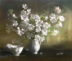 """/ Photo """"Malva"""" by Luiza Gelts - Луиза Гельтс Beautiful Gif, Beautiful Flowers, White Flowers, Flowers Gif, Glitter Pictures, Gif Animé, Arte Floral, French Artists, Flower Art"""