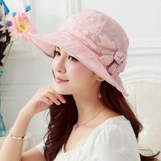 Outdoor flower bucket hat for women elegance UV beach bowler sun hats