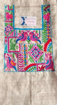 Embroidery Neck Designs, Baby Embroidery, Indian Embroidery, Embroidery Suits, Hand Embroidery Stitches, Embroidery Patterns, Machine Embroidery, Hand Work Design, Kutch Work