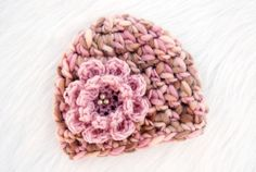 Baby Girl Hat with Flower Chunky Crochet Knit Newborn Infant Beanie Cap Dusty Pink Brown Cream Photo Photography Prop Shower Gift