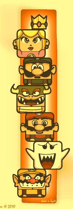 Mario Bros totem pole bears an uncanny resemblance to our MindSnacks game, Totem! Print this out as a bookmark.