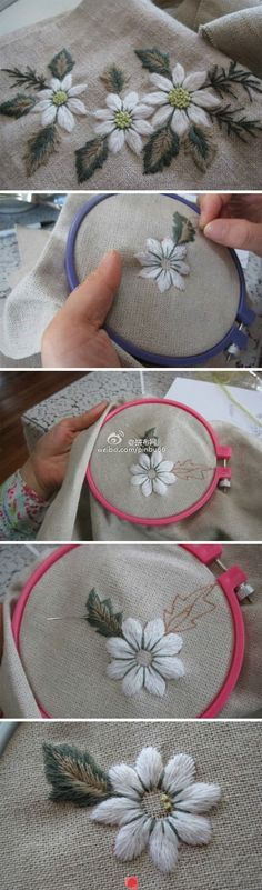 ♒ Enchanting Embroidery ♒ embroidered daisies