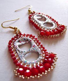 Bollywood Confetty Earrings, #beadwork #tutorial #pop tab #recycle