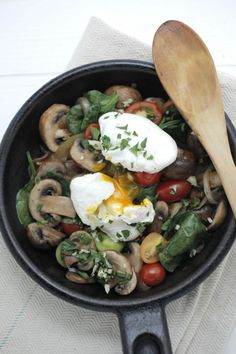 Mushroom and spinach hash for breakfast