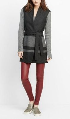 NWT-VINCE-Heather-Charcoal-Grey-Striped-Wool-Blend-Long-Vest-Sz-XL-220515E