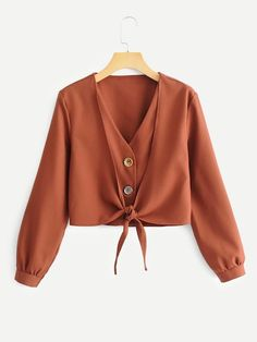 Casual Knot Plain Shirt Regular Fit V Neck Long Sleeve Placket Rust Crop Length Knot Hem Solid 2 In 1 Blouse Muslim Fashion, Hijab Fashion, Boho Fashion, Fashion Dresses, Cute Blouses, Blouses For Women, Ladies Blouses, Stylish Outfits, Cool Outfits