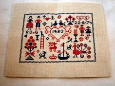Nordic Style Cross Stitch Sampler by CardinalVirtues on Etsy, £16.99