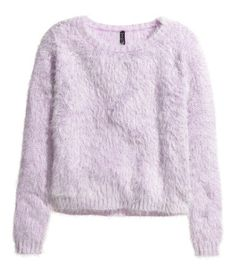 Long-sleeved sweater knit in soft chenille yarn.