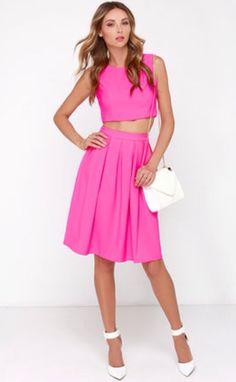 Splendidly Spry Hot Pink Two-Piece Midi Dress $84 lulus.com