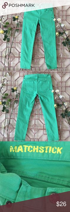 "J Crew bright green matchstick skinny jeans Bright almost parrot green colored cropped matchstick jeans from K Crew. Length 32 1/2 inseam 24 1/2"" rise 7"" waist 14"" J. Crew Jeans Skinny"