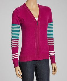 Take+a+look+at+the+Purple+&+Turquoise+Stripe+Accent+Zip-Up+Sweater+on+#zulily+today!