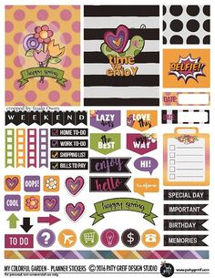 Free Printable My Colorful Garden Planner Stickers from Paty Greif Design Studio {newsletter subscription required} Free Planner, Happy Planner, Planner Diy, Planner Ideas, Printable Planner Stickers, Printables, Free Printable, Filofax, Create 365 Planner