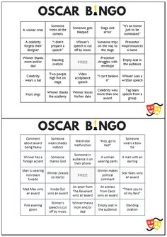 A set of 8 free printable Oscar party bingo cards to make watching the awards show a little more fun.
