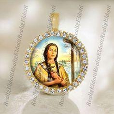 St. Kateri Tekakwitha Catholic Gold Tone Medal Pendant Patron Religious Jewelry