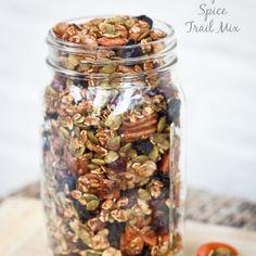 Pumpkin Spice Trail Mix Recipe Lunch and Snacks with sucanat, cinnamon, paprika, pumpkin pie spice, whole almonds, rolled oats, pecan halves, pepitas, walnut halves, pumpkin purée, apple juice, dried cranberries, raisins