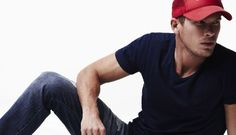 casual style red cap, blue  tee, blue jeans / men fashion