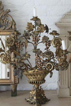 Metal flowers in vase
