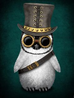 Steampunk Baby Penguin on Teal Blue
