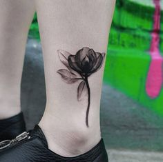 X-Ray Flower Tattoo on Ankle by Joice Wang