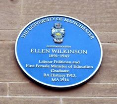 Ellen Wilkinson was born in Ardwick, Manchester and  was the Labour Member of Parliament for Middlesbrough and later for Jarrow, on Tyneside. She was one of the first women in Britain to be elected as a Member of Parliament.