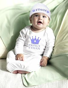 Personalized Prince Newborn Baby Set.  For that little prince!  www.HarperGraceBaby.com