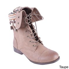 DBDK Women's Sharpery-1 Fold-over Printed Lining Combat Boots - Overstock Shopping - Great Deals on Elegant Boots