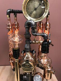 Steampunk Gadgets, Steampunk Lamp, Pipe Lighting, Cool Lighting, Neo Victorian, Lamp Design, Design Inspiration, Design Ideas, Retro Vintage