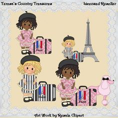Paris #Girls with Curly Hair 2 #Clipart