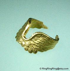 Gold ear cuff angel wing Earcuff jewelry for men