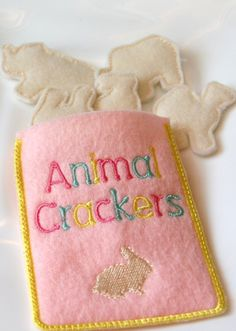 Items similar to FUN felt food animal crackers- set of 5 crackers an embroidered carrying pouch on Etsy Baby Crafts, Felt Crafts, Fabric Crafts, Fabric Art, Sewing For Kids, Diy For Kids, Crafts For Kids, Felt Food Patterns, Craft Projects